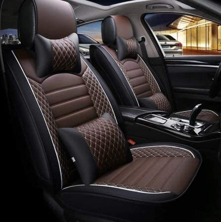 Hi Art Leatherette Custom Fit Front and Rear Car Seat Covers Compatible with Tata Altroz, (Black/Brown)