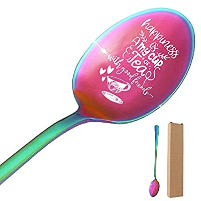 THREE HUMAN Happiness Is A My Cup Of Tea With Good Friends Funny Engraved Color Spoon, Gift for Wife, Mom, Dad, Tea Lovers, Sisters, Girlfriend, Thanksgiving, Christmas Gifts