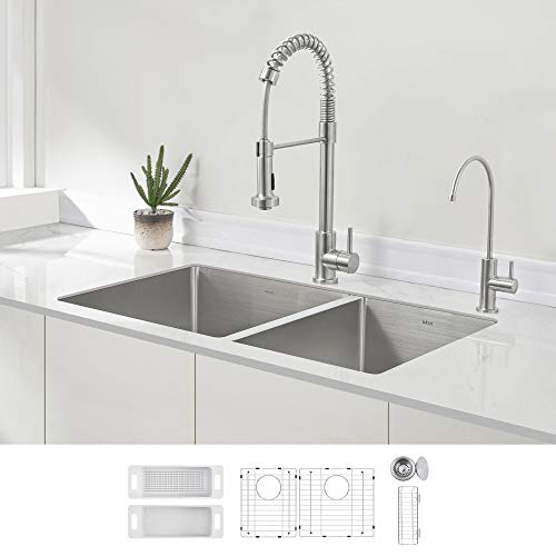 ZUHNE 32-Inch Stainless Steel Undermount Kitchen Sink Double Bowl 16 Gauge (60/40)