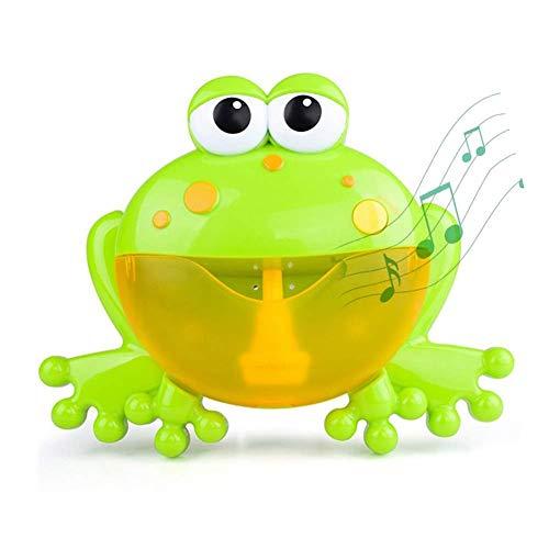 Forwei Automático Maquina Burbujas Máquina De Soplado De Burbujas Juguetes del Baño Rana De Burbuja con 12 Música Infantil para Niños Pequeños La Máquina De Burbujas