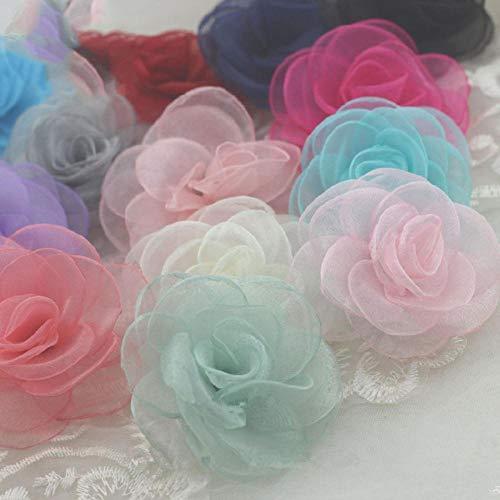 10 stks glasgaren rose bloem haar accessoire haar clip accessoires diy haarspeld materiaal koreaanse gebrand sneeuw garen camellia rs161, wijnrood