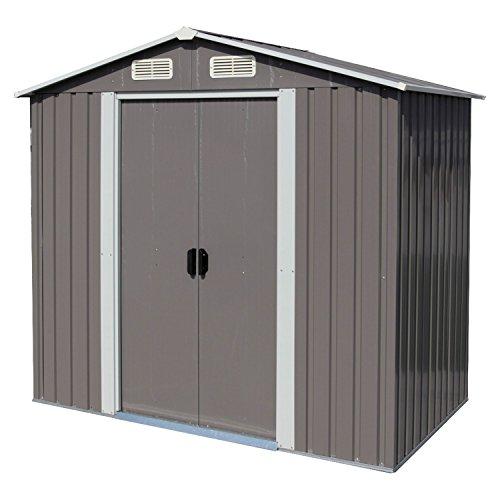 kinsuite Outdoor Backyard Storage Shed Metal Garden Heavy Duty Tool House W/Sliding Door(6'X4') Grey