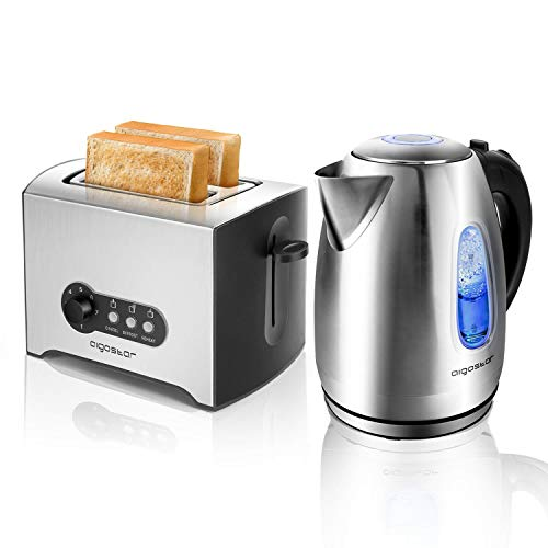 Aigostar pack Snack - Aigostar Queen Hervidor de Agua Electrico, 1,7 L, con iluminacion led y 2200W + Aigostar Mini Sunshine Tostadora de 2 rebanadas, 900W, 7 niveles de tostado, ranura extra ancha.