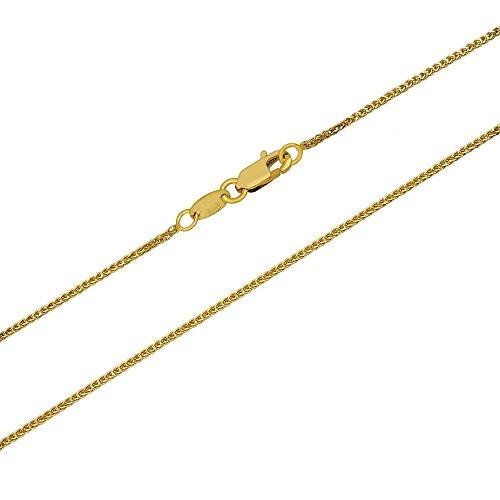 aion Goldkette Gold 585 Zopfkette Massiv Gelbgold 14 Karat Halskette Herren Damen 40-60 cm -1 mm (40)