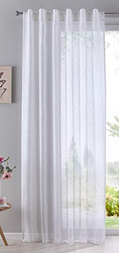Gardine Vorhang Schal verdeckte Schlaufen Ausbrenner Qulität modern mit abstraktem Muster, 235x140, Weiß, 63000