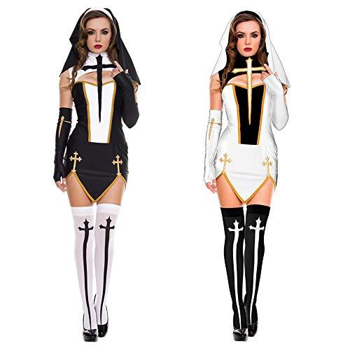 Duk3ichton Costumi di Halloween Abito Sexy Suora Chiesa Donne Cross Split Fancy Dress Gioco di Ruolo Costume Cosplay da Festa Nero