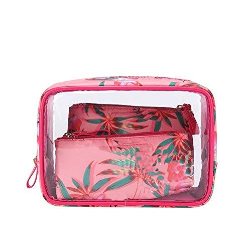 Sac transparent cosmétique PVC Sac de toilette Voyage Set maquillage Organisateur Pouch Makeup Case Esthéticienne Vanity Necessaire voyage (Color : Brown)