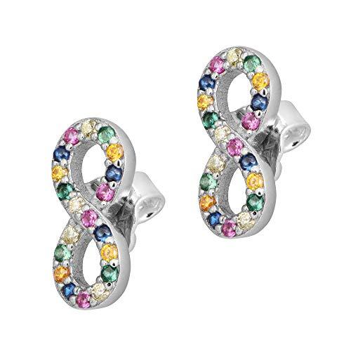 ANDANTE Pendientes de plata de ley 925 para mujer, símbolo del infinito con circonitas brillantes