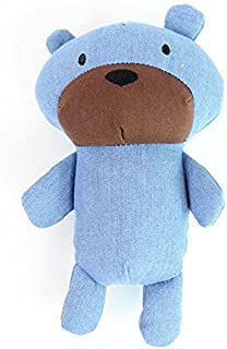 Stock Show 1Pc Pet Squeak Toy, Cute Denim Blue Teddy Bear Shape Teeth Clean Stuffed Interactive Toy for Small Medium Dog/Puppy/Pup