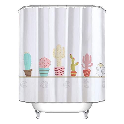 LCHY douchebak douchegordijn van polyester, 3D-weefsel voor de badkamer met 12 haken Moho, waterdicht, badkamer, robuust, model van het gordijn, wasbaar, plant