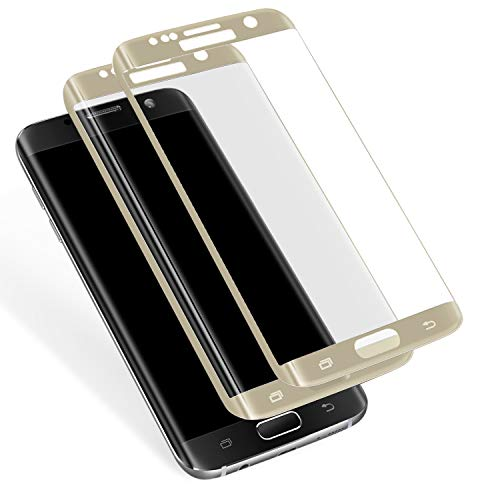 Galaxy S7 Edge Tempered Glass Screen Protector(2 Pack), Full Coverage, Anti-Scratch, HD Clear 3D Curved Film for Samsung Galaxy S7 Edge (Not For Galaxy S7) (Gold)