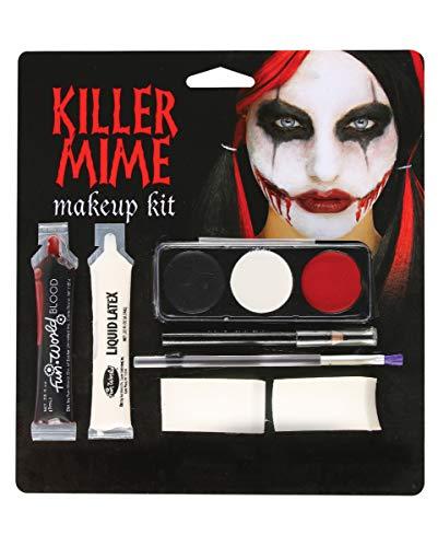 Horror-Shop Killer Mime Joker Smile Make-up Kit für Halloween & Grusel Motto Party