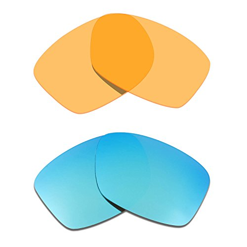 HKUCO Mens Replacement Lenses for Oakley Jupiter Squared Sunglasses Blue/Transparent Yellow Polarized