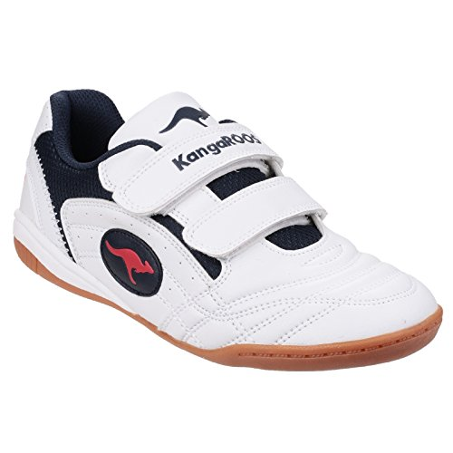 KangaROOS Kinder Trainers Backyard KR10704 (35EU/2,5UK) (Weiß/Marineblau/Rot)