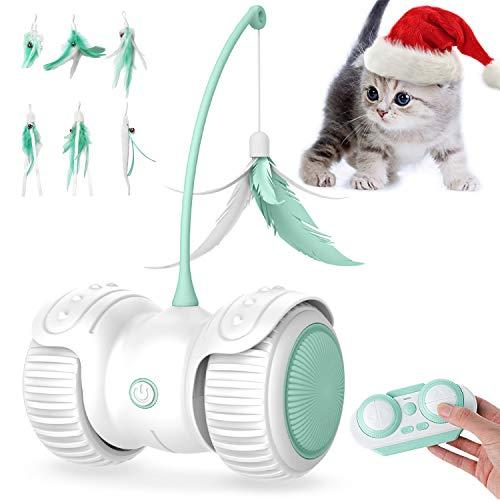 YIEZI Interaktives Elektrischer Katzenspielzeug Ball,mit Federn,mit LED-Licht Spielzeug Für Kätzchen Katzen,USB Aufladen,Katzen Roller Ball Intelligenzspielzeug für Cat Haustiereignung