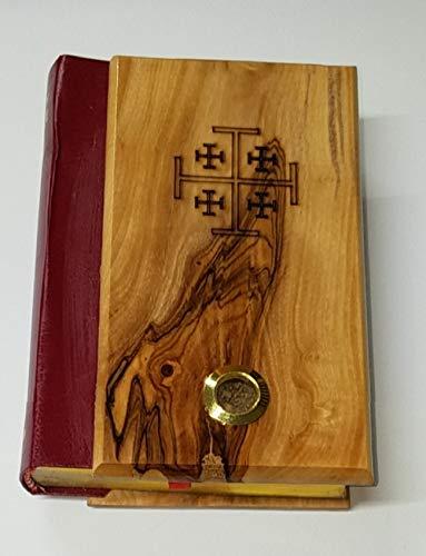 Bethlehem Gifts TM Oliva Madeira Bíblia La Santa Bília Vermelho-Letra King James Versão Antigo e Novo Testamento, English Version