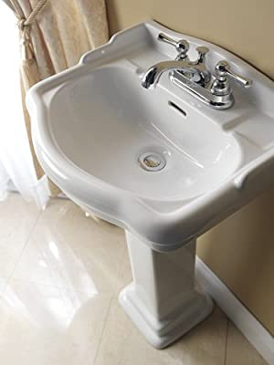 Barclay 3-874WH Stanford 460 Vitreous China Pedestal Lavatory Sink with 4-Inch Centerset, White