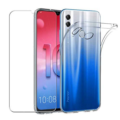 Wanxideng - Cover Huawei P Smart 2019 / Honor 10 Lite + [Pellicola Protettiva in Vetro Temperato], Custodia Morbida Trasparente Sottile in silicone TPU - Transparent