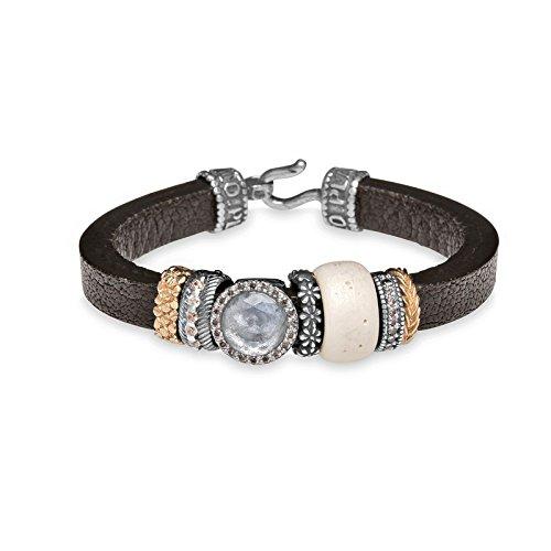 Armband Silber und Leder silber Golfschläger für Damen, Größe 19cm