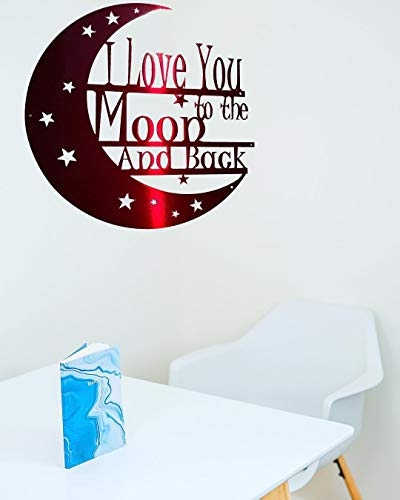 I Love You to the Moon and Back Metal Wall Art - Steel Roots Decor -Wall Decor Laser Cut 18 Inch Living Room, Bedroom, or Nursery Room Decor, Indoor and Outdoor , Wall Art For Living Room Veteran Made