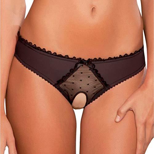 Rosennie Damen Unterwäsche Frauen Sexy Erotik Dessous Crotch Body Nachtwäsche Damen Shorts Brazilian Slip Bandage Spitze G-String Strand Mini Tanga Rüsche Bikini Badehose (A Schwarz, S)