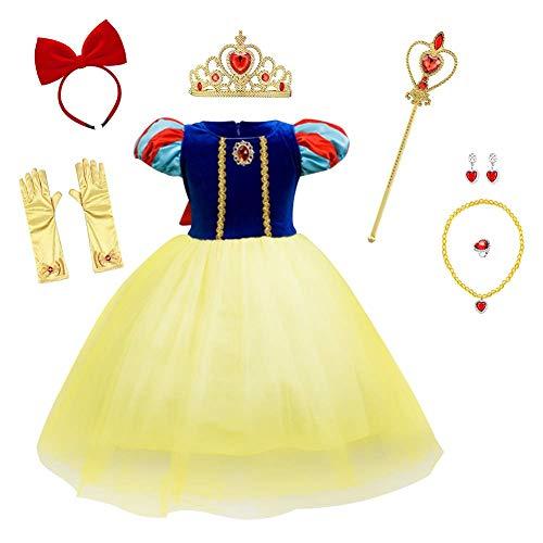 IMEKIS Disfraz de princesa de cuento de hadas para niños, de color blanco, para cumpleaños, Navidad, carnaval, cosplay, boda, cumpleaños, tul con capa y accesorios