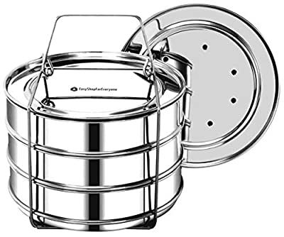 EasyShopForEveryone Stackable Steamer Insert Pans with 2 Lids, Cook 3 Dishes at a time, Compatible with 6qt Instant Pot, Pressure Cooker Accessories, Pot in Pot, Baking, Casseroles, Lasagna Pans