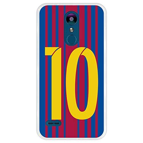 Hapdey Funda Transparente para [ LG K9 - K8 2018 ] diseño [ Ilustración fútbol, número 10 ] Carcasa Silicona Flexible TPU