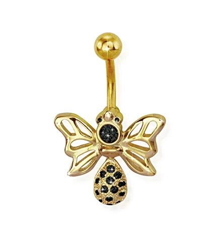 eeddoo® Bananenstekker navelpiercing van roestvrij staal goud in filigraan bijendesign met zwarte kristallen
