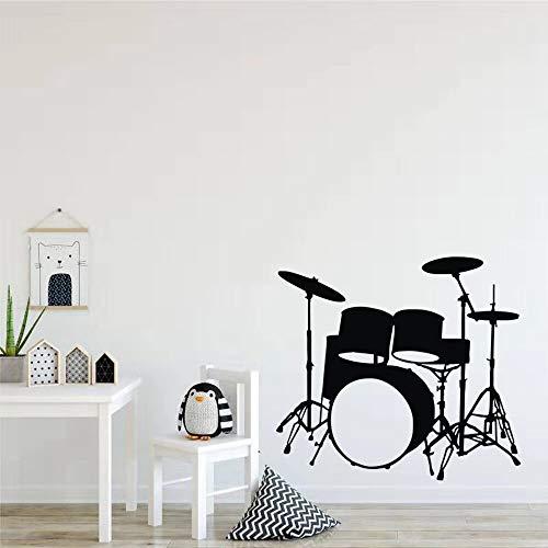 Lamubh Instrumentos Musicales Tambores Pegatinas de Pared decoración del hogar niños Dormitorio Pared calcomanías Vinilo Adhesivo Papel Tapiz 56 cm X 61 cm