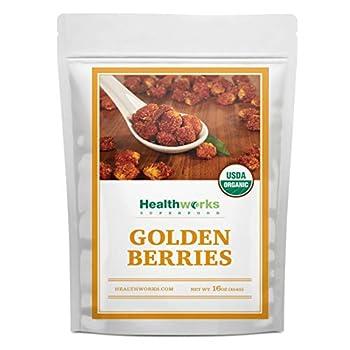Healthworks Golden Berries  16 Ounces / 1 Pound  | Raw | Certified Organic & Sun-Dried | Gooseberries | Keto Vegan & Non-GMO | Salads & Smoothies | Antioxidant Superfood