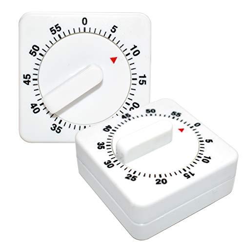 Küchentimer Mechanische,Xiuyer 2 Stück Tragbare Timer Quadrat 60 Minute Countdown Eieruhren Analog Kurzzeitwecker mit Lauter Alarm für Backen Kochen Ausüben(Weiß)