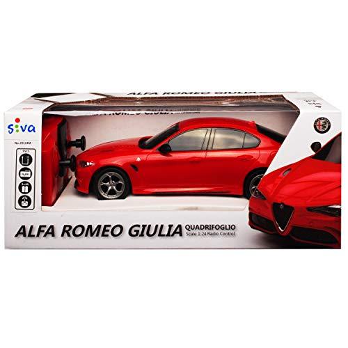 Siva Alfa Romeo Giulia Rot Ab 2016 2,4 GHz RC Funkauto mit Beleuchtung und Akkupack 1/24 Modell Auto mit individiuellem Wunschkennzeichen