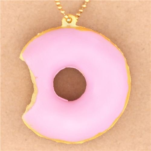 Kawaii Süßer niedlicher hellpinker angebissener Donut Cafe de N Squishy Handy Anhänger