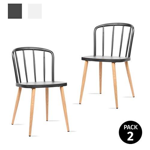 Mc Haus COLONNA - Pack 2 Sillas Comedor estilo Nórdico color Negro, Silla moderna Salón diseño dormitorio cocina escritorio 44x53,5x75,5cm