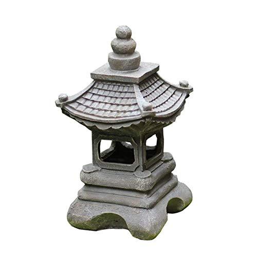 LEILEI Estatuas al Aire Libre de pie Decoración de jardín japonés Paisaje Zen Esculturas con Acabado de Piedra Antigua Patio Patio Coleccionables Adornos de Palacio A 17x17x34cm(7x7x13inch)