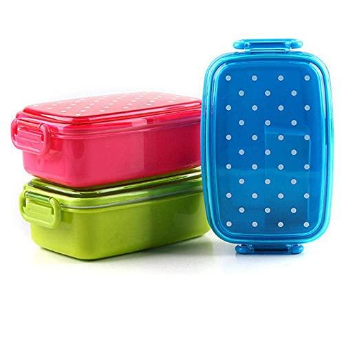 Dot - Fiambrera para niños, picnic, escuela, almacenamiento de alimentos, caja de sushi Bento, para niños, frutas, aperitivos, microondas, loncheras X (color naranja)