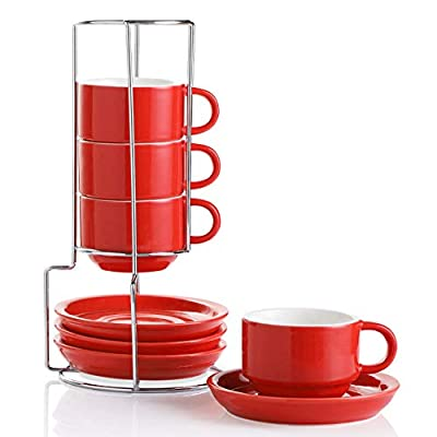SWEEJAR Porcelain Espresso Cups with Saucers, 4 Ounce Stackable Cappuccino Cups with Metal Stand for Coffee Drinks, Latte, Tea - Set of 4 (Red)
