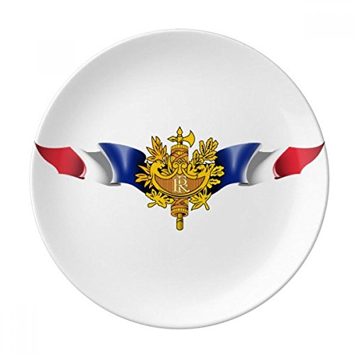 DIYthinker Drapeau de la France Emblème National Porcelaine décorative Assiette à Dessert 8 Pouces Dîner Accueil Cadeau 21cm diamètre Multicolor