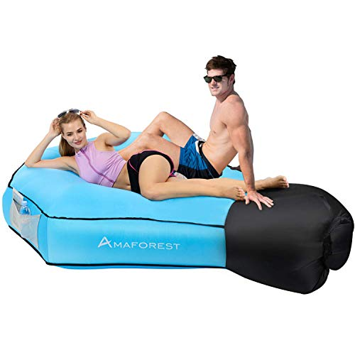 Inflatable Lounger Air Sofa Hammock-Inflatable Couch Air Chair Anti-Air Leaking Pouch Couch with Pillow and Carrying Bag...