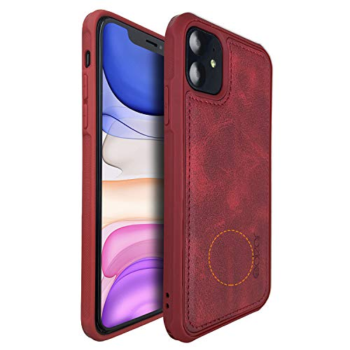 Molzar MAG Series iPhone 11 Case, Built-in Metal Plate for Magnetic Car Phone Holder, Support Qi Wireless Charging, Compatible with iPhone 11, Red