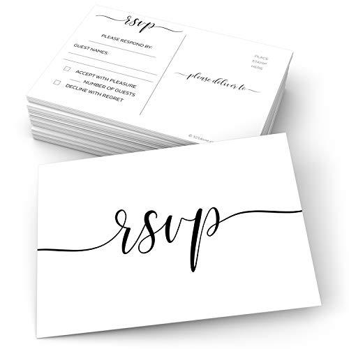321Done RSVP Postkarten 10 x 15 cm (Set mit 50 Stück) – blanko mit Versandseite, Antwortkarten für Hochzeit, Brautparty, Babyparty, Made in USA, elegante Schrift, Weiß