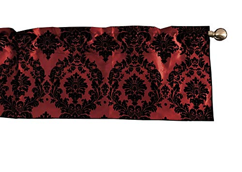 lovemyfabric Taffeta Damask Print Kitchen Curtain/Valance Window Treatment 56 Inch Wide 14 Inch Long (Black on Red)