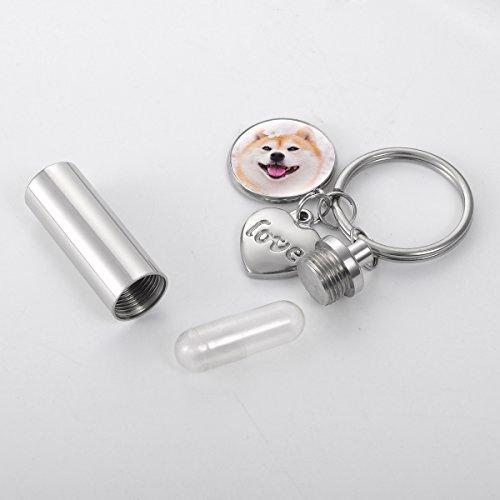HOUSWEETY刻印無料写真カスタマイズ写真でチャームメモリアルボトル筒キーホルダーキーリング3.8x1.1cm