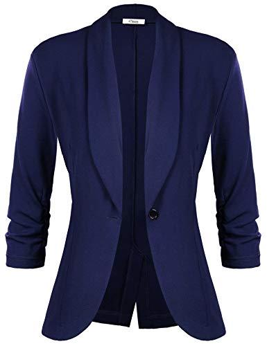 iClosam Veste Femme Blazer Chic De Costume Casual Slim Tailleur À Manches 3/4 Un Bouton, Bleu Foncé, S
