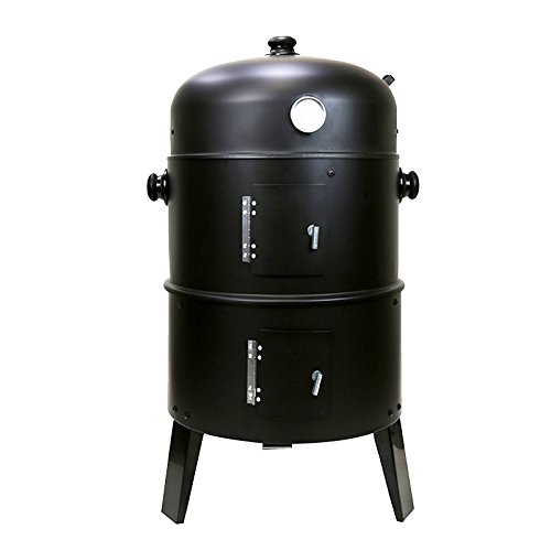 First4Spares 3 in 1 Round Charcoal BBQ Grill & Smoker with Hangers and Built in Thermostat,Black
