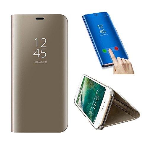 SevenPanda Teléfono móvil Metal para Xiaomi Redmi Note 5A, Flip Stand Espejo Funda Transparente Funda teléfono móvil Función Inteligente Sleep/Wake Ultra Thin Glitter Cristal Rhinestone Libro - Oro
