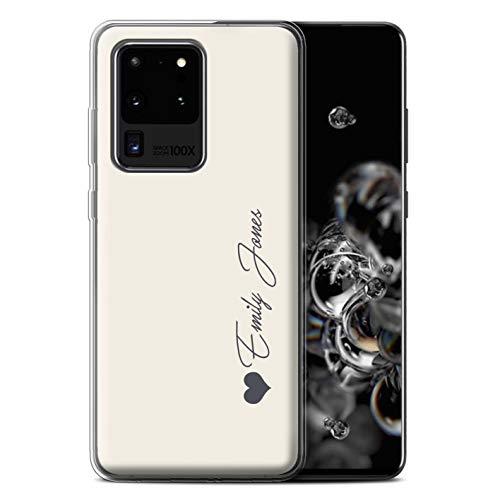 Stuff4 Personalisiert Persönlich Pastell Töne Gel/TPU Hülle für Samsung Galaxy S20 Ultra/Elfenbein Herz Design/Initiale/Name/Text Schutzhülle/Hülle/Etui