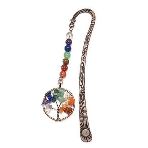 CrystalTears Metal Bookmark-7 Chakra Tree of Life Charms Pendant w/Vintage Bronze Star Sun Moon Rune Bookmark