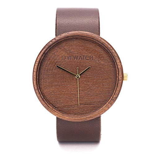 Walnuss Holzuhr Von Ovi Watch - Minimalistisches Design Analog Uhr Mit Leder Band, Handgemachtes Geschenk